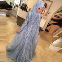 yeni elbise hicabı toptan satış-2018 Yeni Müslüman Örgün Abiye Başörtüsü Elbise Dubai Arapça Uzun Kollu Pullu Boncuklu Parti Elbiseler Kadınlar Için Kaftan Abiye vestidos de