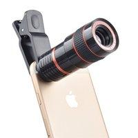 smartphone zoomobjektiv großhandel-Universal 8X Optischer Zoom Smartphone Teleskop Kameraobjektiv Schwarz Und Rot Mit Abnehmbarem Clip