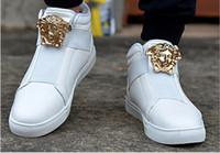 sapatas novas das rochas dos homens venda por atacado-Moda Nova marca Medusa de Metal personalidade Homens Rocha Sapatos de Dança Casuais confortáveis de Alta top calçados esportivos Homens tênis Zapatos Formadores