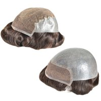 Wholesale men hair toupee quality online - Top Quality Human Hair Toupee For Men inch Indian Virgin Hair Swiss Lace PU Men s Wigs