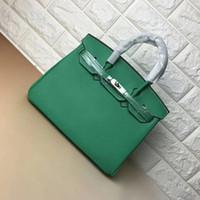 genuine leather handbags green al por mayor-25 CM 30 CM 35 CM 2018 Gran Marca Diseñador Verde Totes bolsas mujeres de cuero genuino Bolsas de hombro Con el Metal plateado Bolso de la manera Ins Venta caliente