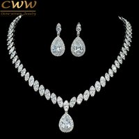 conjuntos de joyas de novia zirconia al por mayor-CWWZircons Alta Calidad Cubic Zirconia Boda Collar y Pendientes de Lujo de Cristal Conjuntos de Joyería Nupcial Para Damas de honor T109