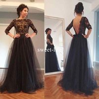 Wholesale Three Floor Sexy Dresses - 2018 Charming Black Tulle A-Line Mother Of The Bride Dresses Three Quarter Sleeves Appliques Beaded Sexy Open Back Prom Evening Dresses