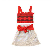 модная детская одежда оптовых-Newborn Baby Girl Birthday Party Fancy Costume Dress Toddler Girls Kids Tassels Crop Tops Dress Skirts 2Pcs Cosplay Clothes Set