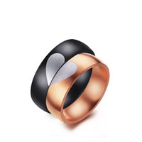Wholesale simple gold rings for girls resale online - 6mm Gold Black Color Fashion Simple Lover s Heart Ring Stainless Steel Rings Jewelry Gift for Boys Girls J118