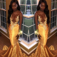 Wholesale Girls Velvet Gown - 2018 Velvet Black Girls Gold Prom Dresses Mermaid Sexy Sheer Jewel Neck Illusion Long Sleeves Appliqued Long Evening Gowns Party Occasions