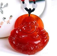 Wholesale iced jade pendants - Natural Ice agate Brazil Red agate Laughing Buddha pendant jade Buddha maitreya pendant Jewelry for woman