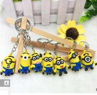 Wholesale 3d charms - Despicable Me Keychains Cartoon Key Chain Despicable Me 3D Eye Small Minions Figures Kids toy Keychain 2015 Hotsale