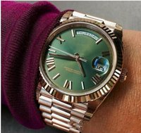Wholesale yellow face mens watch - Free shipping luxury mens watch Green face rose gold Stainless steel original strap watch Day-date Automatic movement AAA mens Watches
