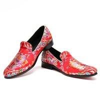 şık deri toptan satış-Christia Bella Klasik Chic erkek Hakiki Deri Elbise Ayakkabı Çiçek Baskılı Sivri Burun Loafer Ayakkabı üzerinde Kayma Sigara Terlik