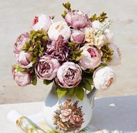 ev için dekoratif çiçekler toptan satış-13 Kafaları Avrupa Tarzı Sahte Yapay Şakayık İpek Dekoratif Parti Çiçekler Ev Otel Düğün Ofis Bahçe Dekor Için