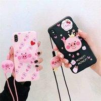 браслет розовый оптовых-Милый мультфильм розовый свинья телефон чехол с браслетом для Iphone X XR XS Max свинья чехол для Iphone 6 7 8 Plus
