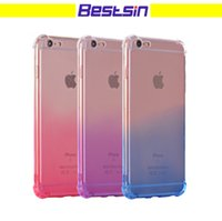 Wholesale soft plastic material - Bestsin Four Corner Protection Gradient Color Progress Change Soft Silicone Material For Iphone Iphone X