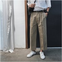 capris de color caqui al por mayor-Moda casual hombres pantalones rectos Verano y otoño Nuevo S-XL Color sólido Pantalones sueltos Negro Caqui Personalidad Juvenil Popular