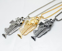 Wholesale gift christmas jewellery for sale - Group buy Fish bone fishing hook skeleton stainless steel pendant surfer chain necklace gold black silver unisex jewellery