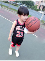 Wholesale Sale Wholesale Brand Clothing - Kids Tracksuits Boys Girls Summer Sports Suits Sleeveless Clothing Basketball 23 Bulls Tops Shirts Shorts Sets Child Casual Sportwear sale