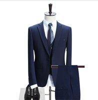 pantalón de abrigo de tres piezas formal al por mayor-Traje de tres piezas de los hombres del boutique de gama alta europeo y americano (capa + pants + chaleco) traje formal de los hombres del negocio del juego de la manera delgada colo sólido