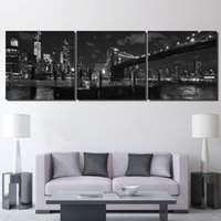 Wholesale Wall Poster New York - Canvas Paintings Living Room Home Decor HD Prints 3 Piece Brooklyn Bridge Poster New York Nightscape Pictures Wall Art Framework