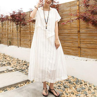 c7e9723e4c3 42% Off. CAD  41.55 · 2017 New Spring Summer Pregnancy Clothing Plus Size O- neck Embroidered Maternity Dresses Linen Clothes for Pregnant Women