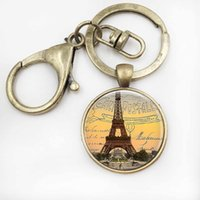 Wholesale Eiffel Tower Keyrings - Paris Keychains Eiffel Tower Key Chains Glass Pendant Keyrings Paris Jewelry Birthday Gift for Women for Men
