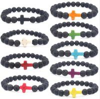 ingrosso braccialetti di silicone diy-Natural Black Lava Stone Cross Bracciale fai da te Aromaterapia olio essenziale diffusore bracciale per donna uomo gioielli