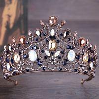 ingrosso blu corona tiaras-Sparkling top quality blu zaffiri da sposa damigella d'onore opale gioiello di pietra ragazze tiara grande corona di lusso fascia per prom
