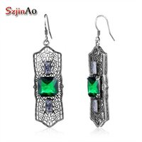 серьги из стерлингового серебра оптовых-Szjinao Charming 925 sterling silver vintage Earring for women Hollow Emerald Earrings Female Wedding Party Gift