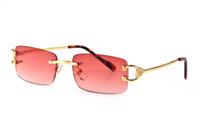 lentes vermelhas sem aro venda por atacado-2019 Marca Designer Buffalo Chifre Óculos Óculos De Sol para Homens e Mulheres Sem Aro Red Lens Óculos De Sol Armação De Metal Gafas De Sol