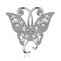 broches en argent sterling achat en gros de-Boutique Argent 925 Bijoux Broche De Mode 925 Sterling Argent Animal Papillon Broches Broches Pour Les Femmes Charme Pin Broches F008
