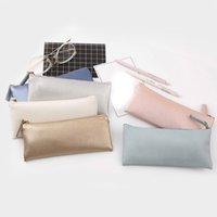 Wholesale leather pencil case cosmetic bags resale online - Fashion PC Soft Simple Leather PU Cosmetics Bags Case Pencil Case Coin Bags Stationery Storage bag