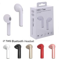 Wholesale free earbuds - i7 TWS Twins True Wireless Bluetooth Headphones Earphones V4.1 Earbuds Stereo Headset With Retail Package Free DHL