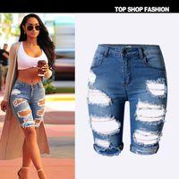 calções de calças quentes para mulheres venda por atacado-Sexy Mulheres de Cintura Alta Trecho Rasgado Buraco Jeans Shorts Jeans Verão Calças Quentes Plus Size 34-46