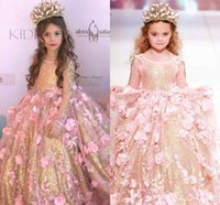 Wholesale Toddler 3d Flower Dress - 2018 Sequined Ball Gown Girls Pageant Dresses Long Sleeves Toddler Flower Girl Dress Floor Length Tulle 3D Appliques First Communion Gowns