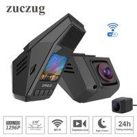 otomobiller için kablosuz park kameraları toptan satış-Gizli tip Araba DVR wifi süper HD 1296 P Starlight gece görüş evrensel Dash kamera Kaydedici Kablosuz Çift kameralar G-Sensor Park izleme