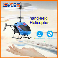 Wholesale induction control rc helicopter - Mini Drone Aircraft RC Helicopter Gesture Induction Automatic Power Protection LED Flash Light Remote Control Toy
