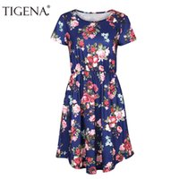 Wholesale Midi Sundresses - TIGENA New Floral Print Pocket Tunic Summer Dress Women 2018 Short Sleeve Midi Shirt Dress Women Summer Sundress Robe Femme