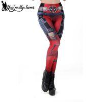 dijital baskı leggins toptan satış-[Benim Sırrım] Sıcak Satış Deadpool Spor Kadın Leggins Seksi Pantolon Cosplay Dijital Baskı kadın Tayt