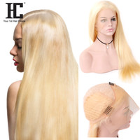 Wholesale 12 inches blonde lace wig resale online - HC Hair Product Pre Color Blonde Brazilian Straight Lace Front Wigs With Babyhair Lace Frontal Inch