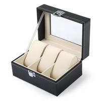 ingrosso organizzatori di scatole-Luxury Watch Box 3 Griglie Slot in pelle PVC Custodia gioielli Organizzatore di stoccaggio Orologi eleganti Collezione regali Organizzatore caja reloj