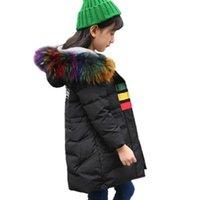 зимний длинный мех парка флис оптовых-Девушки зима сгущаться вниз парки мальчики теплый флис толстый мех с капюшоном длинная верхняя одежда подростки повседневная лоскутное пуховик Aa51895