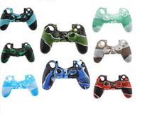 cas pour ps4 achat en gros de-Couverture de poignée en caoutchouc de peau de caisse de gel de silicone souple de camouflage coloré pour le contrôleur sans fil de Xbox un PS4