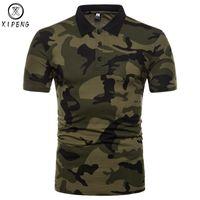 camisas de ejército verde al por mayor-Camisa de camuflaje de marca para hombre 2018 Nuevas camisas para hombre Casual Slim Fit Classic Homme Army Green Camisa Masculina