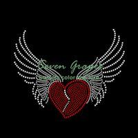 Wholesale heart rhinestone transfer resale online - Dazzle Red Heart with Wings Rhinestone Transfer Iron On Hot Fix Motif