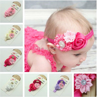 Wholesale colorful hair colors - Baby headband infant colorful Roses hair band Polygonal flowers headbands with Rhinestones kids Headwear colors C1766