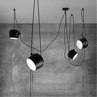 couvertures modernes suspendues achat en gros de-FUMAT Moderne Créative Mode DIY Aim Lampe Éclairage D'intérieur Éclairage acrylique couverture blanc Noir Fer Abat-jour Pendentif Lumière Café Suspension Lampe luminaire