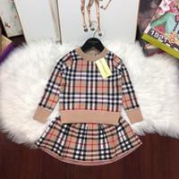 piece kleider für kind großhandel-Zweiteilige Outfits Kinder Mode Pullover Langarm Rundhals Jacke + einfarbige Hose Baby Twinset Kinder Kleidung Set Tutu Kleid