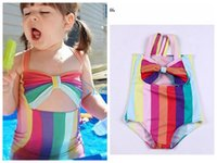 Wholesale baby clothing fast shipping resale online - DHL fast Shipping new baby girls bikini rainbow color children striped bathsuit kids summer beach wear fashion girls clothes