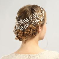 saç bandı tarakları toptan satış-Zarif Headdress Gelin Düğün Saç Combs Gelin İnciler Kadınlar için Hairbands Gümüş Gelin Başlığı Saç Bantları Saç Takı Aksesuarları
