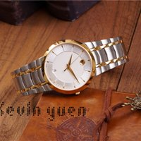 Wholesale geneva quartz watches online - Spot Drop Top Luxury Brands AAA Watches for Men Analog Quartz Movement Stainless Steel Wrist Watch Ultra Thin Swiss Chrono Geneva Time