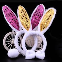 bandeaux de lapin de pâques achat en gros de-1 PC New Easter Bunny Oreilles De Lapin Bandeau Noeud Papillon Queue Cosplay 3 pcs Ensemble Pour Femmes Filles Halloween Party Faveur Cadeau Couleur Aléatoire